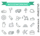 woodworking icons  thin line... | Shutterstock .eps vector #496822765