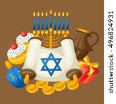 jewish hanukkah celebration... | Shutterstock .eps vector #496824931
