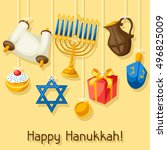 jewish hanukkah celebration... | Shutterstock .eps vector #496825009