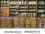 bottles on the shelf in old... | Shutterstock . vector #496825471