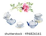 tea time set with porcelain... | Shutterstock . vector #496826161