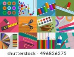 variety of subjects and tools... | Shutterstock .eps vector #496826275
