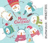 christmas card. round dance of... | Shutterstock .eps vector #496827301