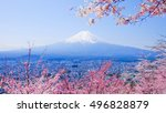 Mountain Fuji In Spring  Cherr...