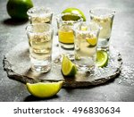 tequila shots with lime and... | Shutterstock . vector #496830634