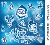 merry christmas icon set on... | Shutterstock .eps vector #496832701