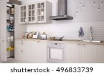 scandinavian kitchen  3d... | Shutterstock . vector #496833739
