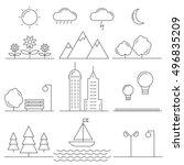 linear landscape elements... | Shutterstock .eps vector #496835209