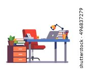 home or office desk with... | Shutterstock .eps vector #496837279