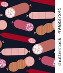 delicatessen sausage seamless...   Shutterstock .eps vector #496837345
