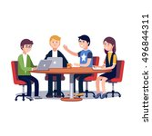 team working and talking... | Shutterstock .eps vector #496844311