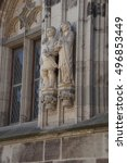 Small photo of COLOGNE, GERMANY - SEP 15, 2016 - Statues of Agrippa and Augustus, Old Town Hall of Cologne, Germany