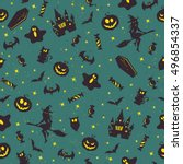 halloween pattern  | Shutterstock .eps vector #496854337