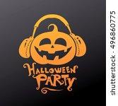 happy halloween. halloween... | Shutterstock .eps vector #496860775