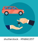 rent and buying car. hands... | Shutterstock .eps vector #496861357