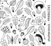 forest animals vector seamless... | Shutterstock .eps vector #496861561