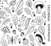 forest animals vector seamless... | Shutterstock .eps vector #496861561
