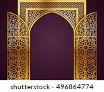 ramadan background with golden... | Shutterstock .eps vector #496864774