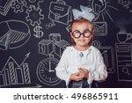 the little smart girl in... | Shutterstock . vector #496865911