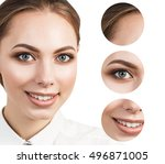 beautiful girl with clear skin | Shutterstock . vector #496871005