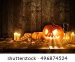 scary halloween pumpkin on... | Shutterstock . vector #496874524