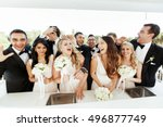 laughing groomsmen and...   Shutterstock . vector #496877749