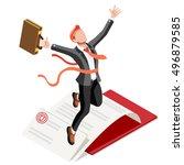 target job now hiring victory... | Shutterstock .eps vector #496879585