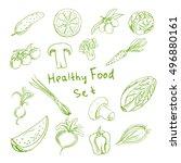 Healthy Food Set. Scetch. Tast...