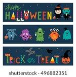 halloween banners. | Shutterstock .eps vector #496882351