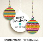 merry christmas and happy new... | Shutterstock .eps vector #496882861