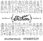 vector set with hand drawn... | Shutterstock .eps vector #496889329
