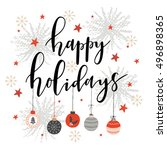 christmas greeting card with... | Shutterstock .eps vector #496898365