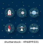 space icons   flat design.... | Shutterstock .eps vector #496899331