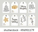 set with merry christmas and... | Shutterstock .eps vector #496901179