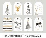 set with merry christmas and... | Shutterstock .eps vector #496901221