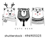 cute bear | Shutterstock .eps vector #496905325
