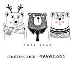 Stock vector cute bear 496905325