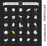 food and drinks chalk icons set.... | Shutterstock .eps vector #496912165