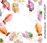 autumn card with leaves. floral ... | Shutterstock . vector #496914829
