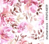floral pattern. watercolor... | Shutterstock . vector #496914859