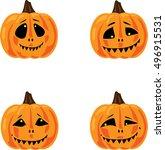 smiling halloween pumpkins...   Shutterstock .eps vector #496915531