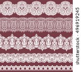 colorful set of white lace... | Shutterstock . vector #496919245