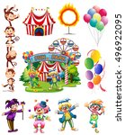 clowns and other objects from... | Shutterstock .eps vector #496922095
