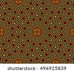 islamic pattern  golden   black ... | Shutterstock .eps vector #496925839