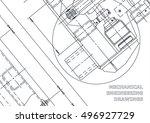 mechanical engineering drawing. ... | Shutterstock .eps vector #496927729