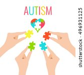 autism awareness poster with... | Shutterstock .eps vector #496931125