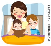 young mom reading tale story to ...   Shutterstock .eps vector #496931965
