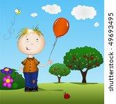 boy holding a balloon outdoors... | Shutterstock .eps vector #49693495