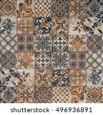 tile with abstract mosaic... | Shutterstock . vector #496936891