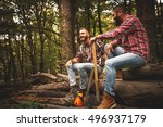 two lumberjacks sitting on wood ... | Shutterstock . vector #496937179
